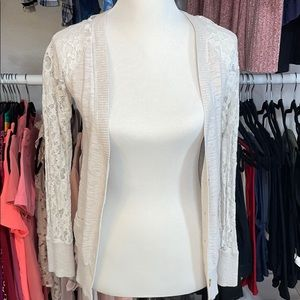 Lace Sleeve Cream Cardigan Size XS